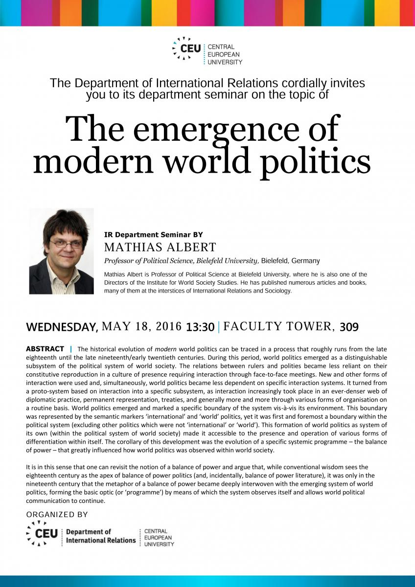 The emergence of modern world politics | Department of